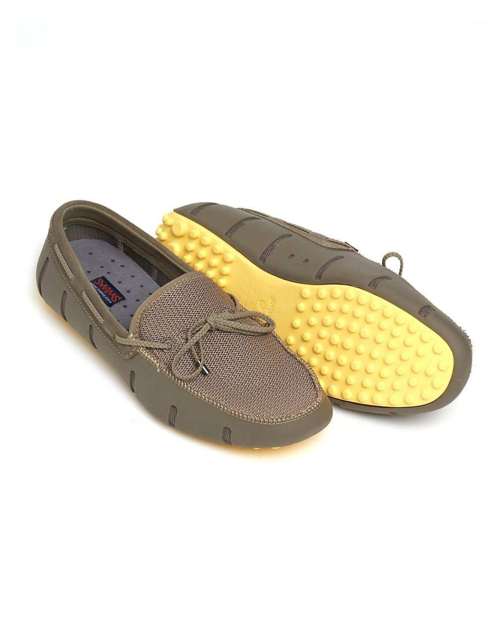 c808c8e6e0cb0 Swims Braided Lace Lux Loafer, Khaki Faded Lemon Driver Shoes in ...