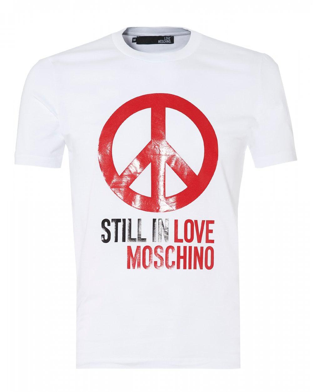 0399176df77 Lyst - Love Moschino Still In Love Peace T-shirt, White Cotton Tee ...