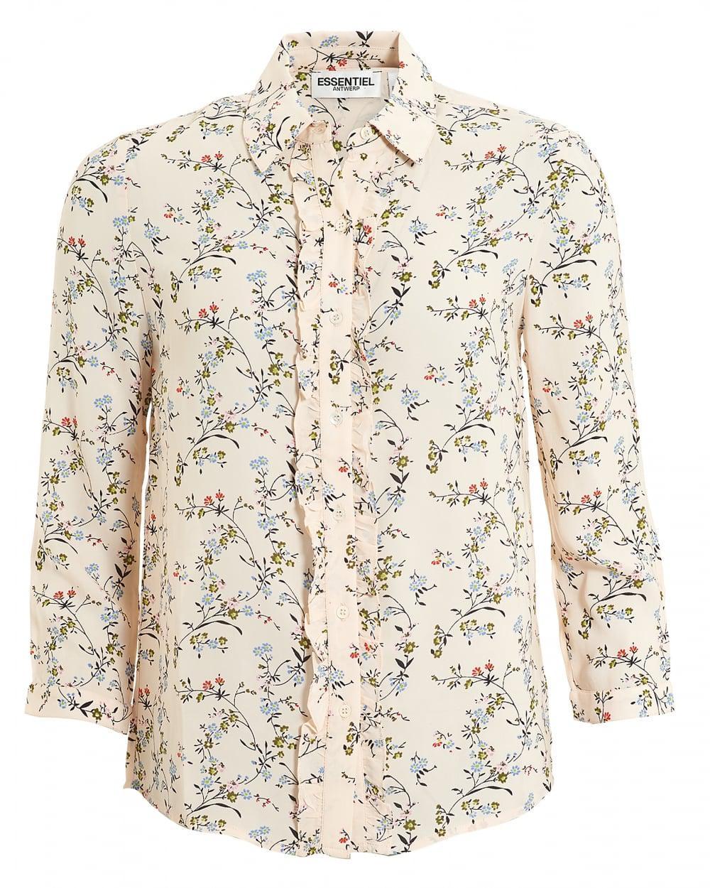 f20cf63dc9de Essentiel Antwerp Pia Blouse, 3/4 Sleeve Ruffle Pink Floral Shirt in ...
