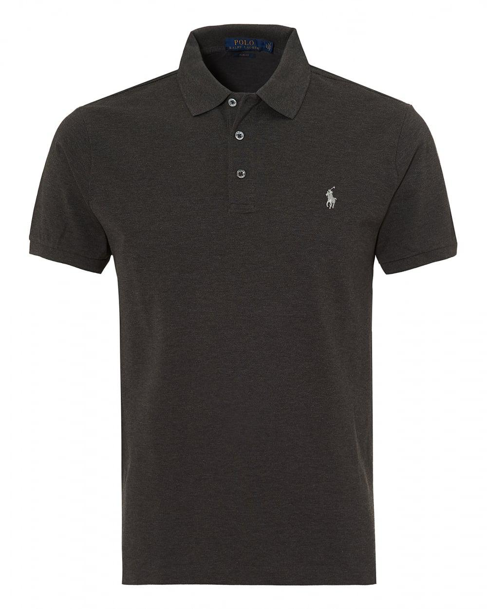 Lyst Ralph Lauren Charcoal Plain Mesh Polo Stretch Grey