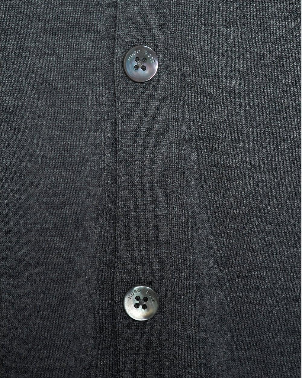 1b70604079 Lyst - BOSS Mardon V-neck Charcoal Grey Cardigan in Gray for Men