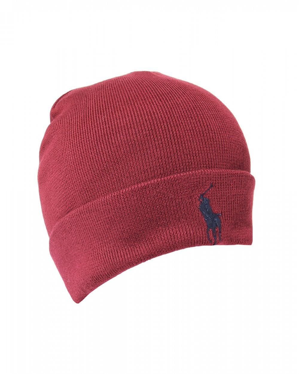 Lyst - Ralph Lauren Large Logo Classic Wine Red Beanie Hat in Red for Men 61d4bf62194a