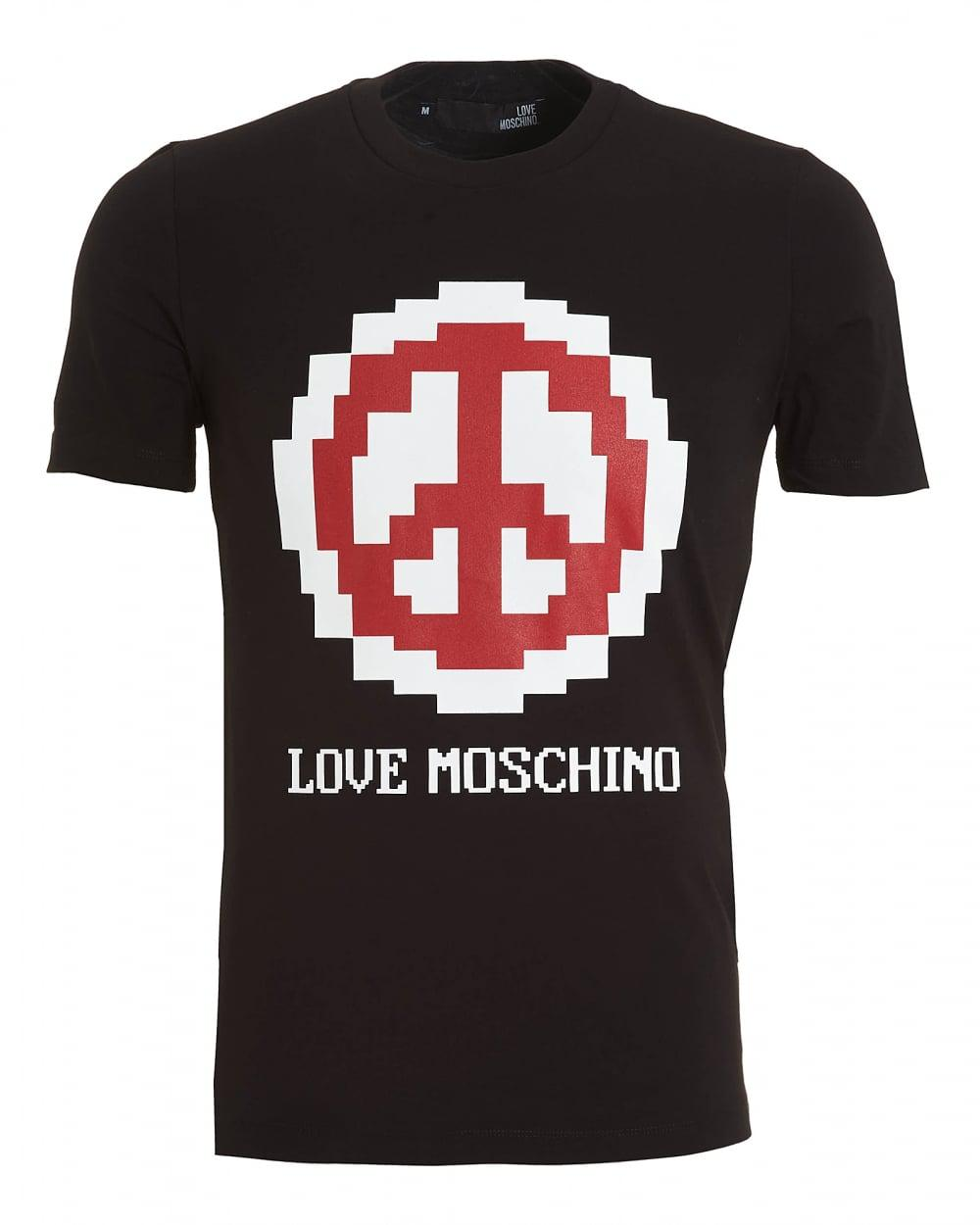 love moschino peace sign emoji t shirt slim fit black tee. Black Bedroom Furniture Sets. Home Design Ideas