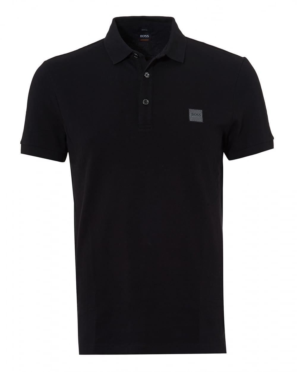 Boss orange passenger polo black short sleeve polo shirt for Orange polo shirt mens