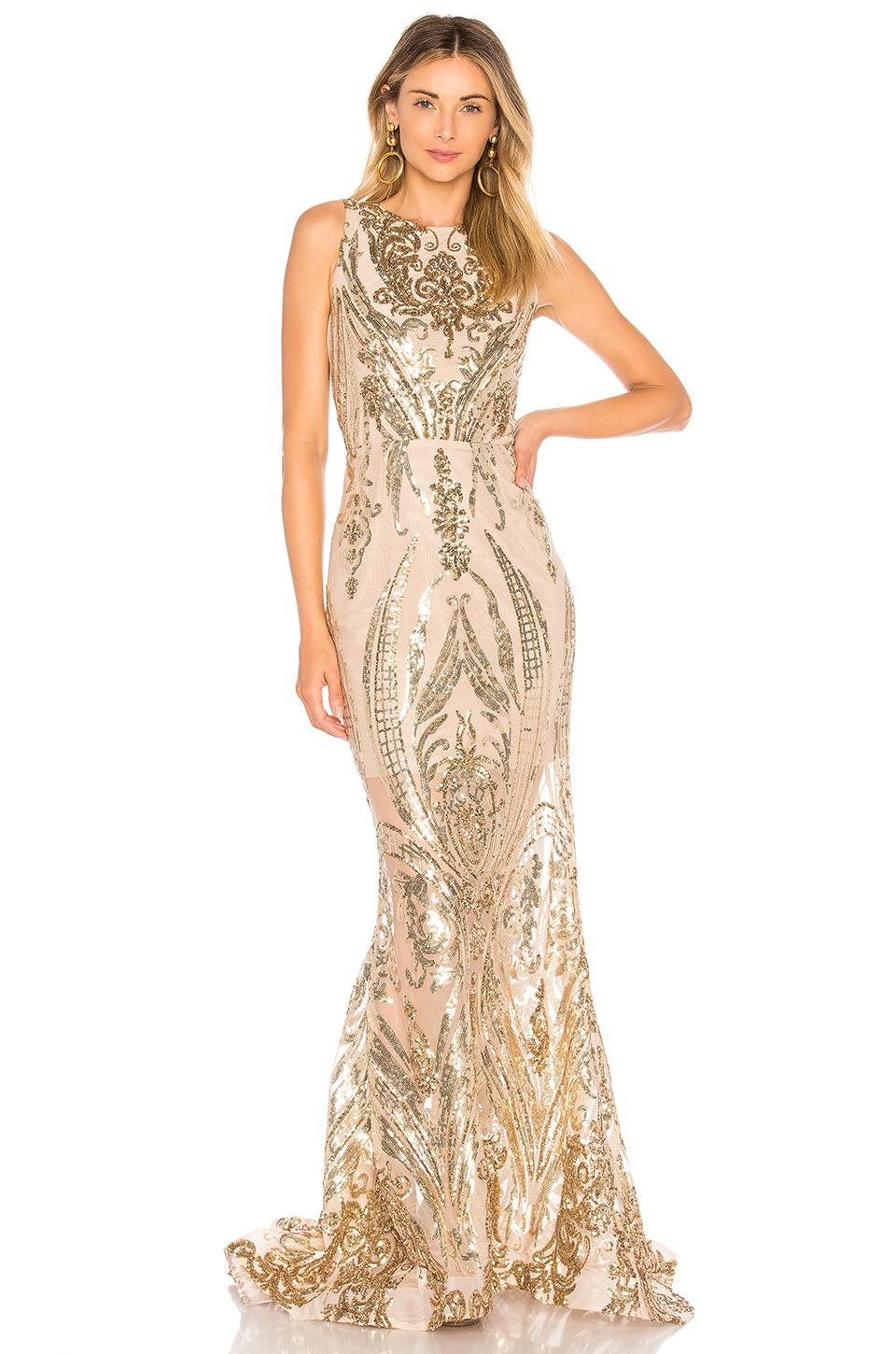 Lyst - Bronx And Banco Ester Gold Gown in Metallic