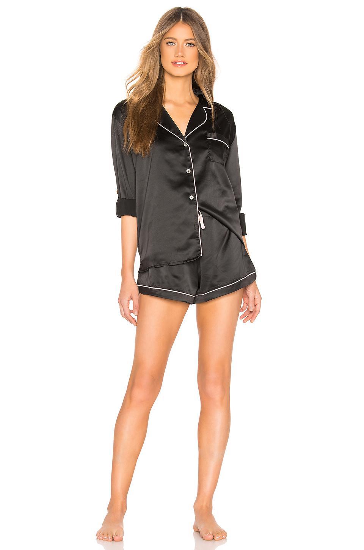46b8edb14f6 Homebodii Long Piping Pajama Set in Black - Lyst