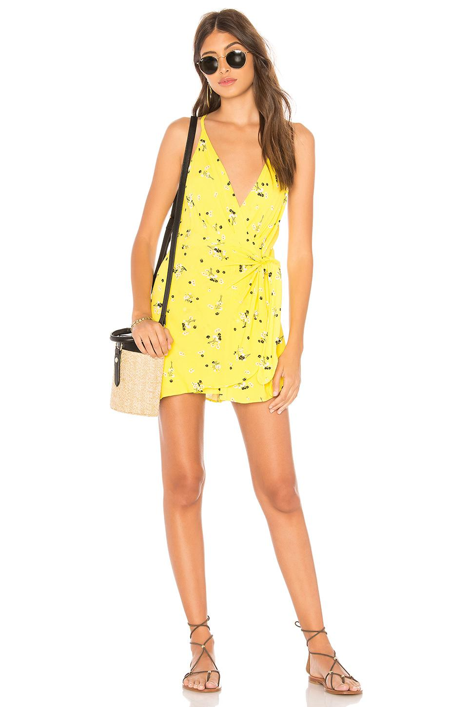 Outlet Affordable Tango At Night Printed Wrap Slip Dress - Yellow Free People Buy Cheap Best Wholesale With Paypal For Sale obPRF04uNR