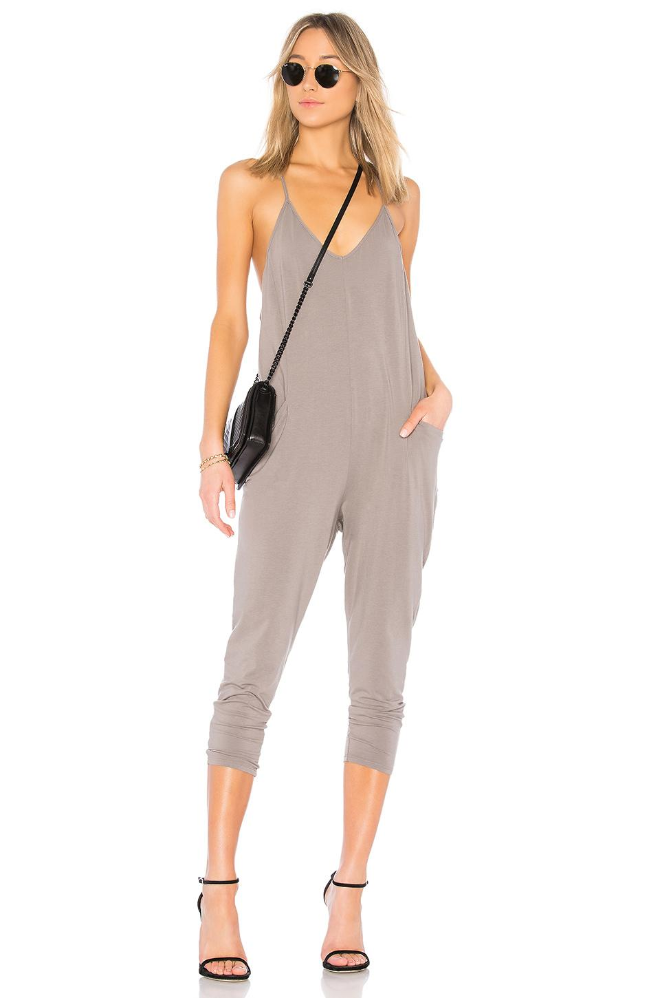 4560af30354 Lyst - Bobi Jersey Draped Jumpsuit in Gray