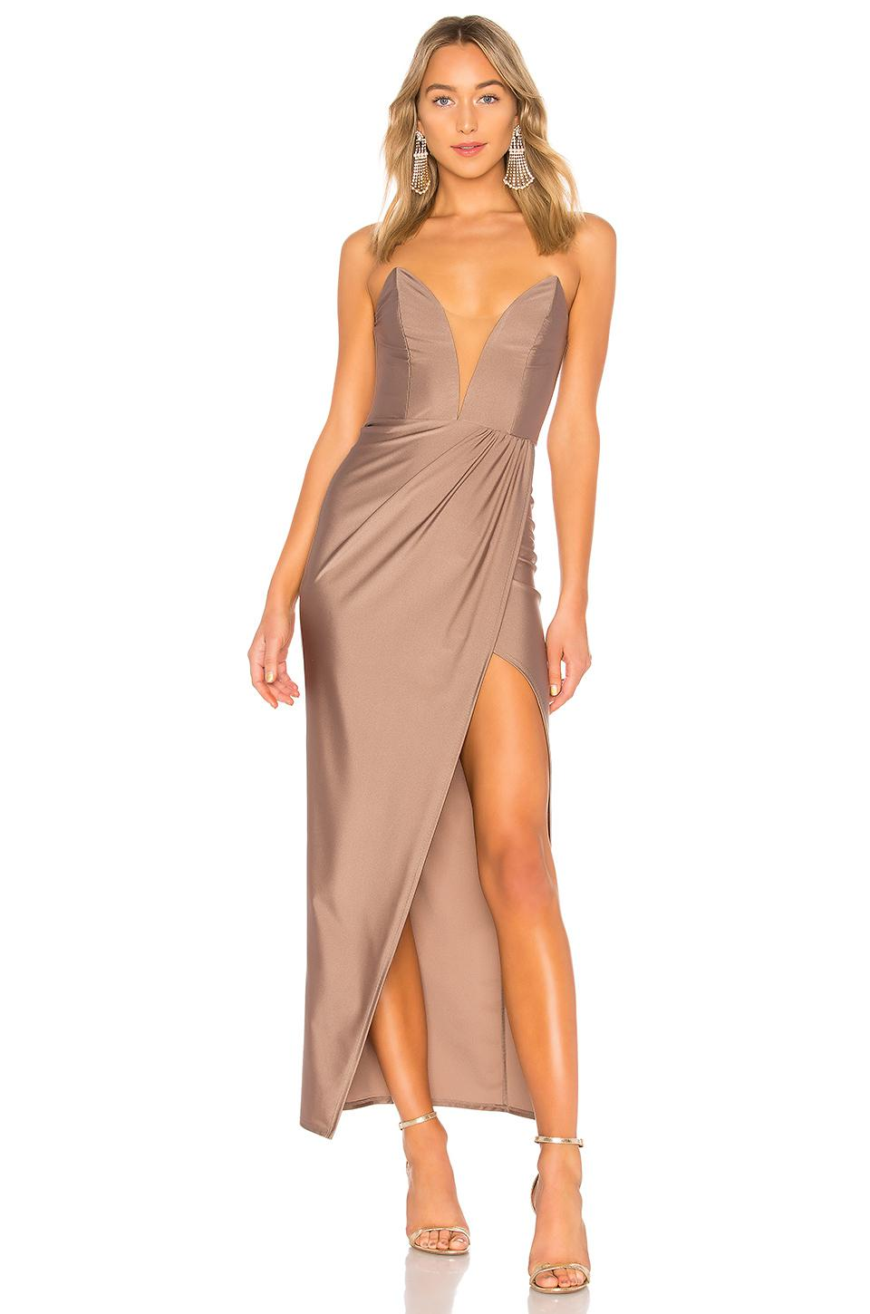 Lyst - Michael Costello Jake Gown In Taupe in Brown