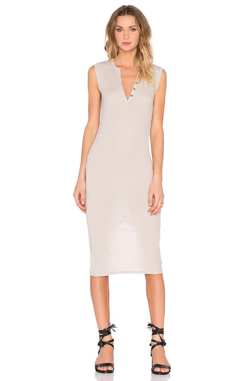 fff1b011c4 ATM Sleeveless Henley Midi Dress in Natural - Lyst
