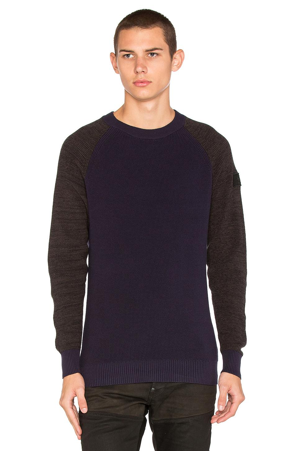 g star raw core raglan sweater in blue for men lyst. Black Bedroom Furniture Sets. Home Design Ideas