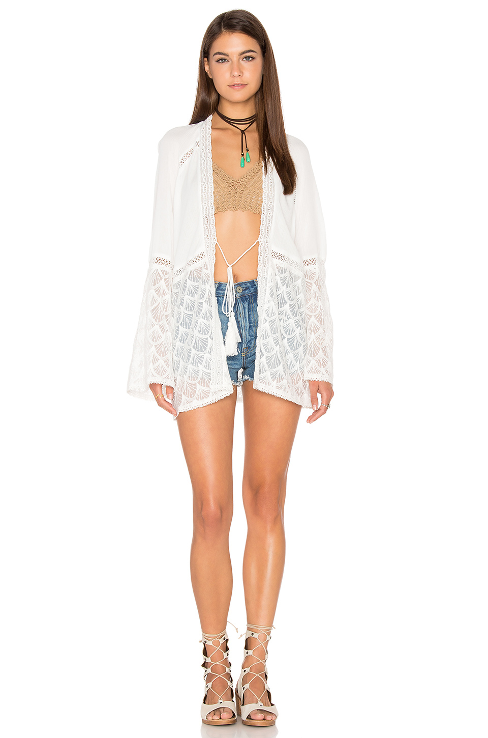 Denise Kimono in White Heartloom Order Cheap Online Cheap Sale Comfortable Free Shipping Genuine Free Shipping Browse Eastbay 79ZJIFw