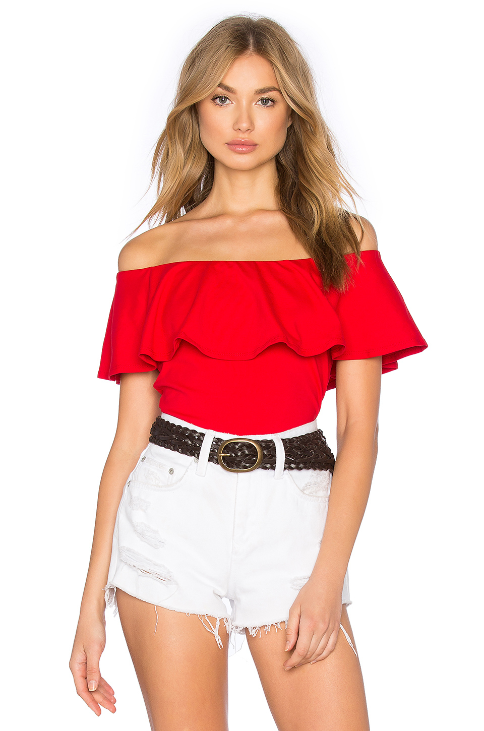 susana monaco ruffle off shoulder top in red lyst. Black Bedroom Furniture Sets. Home Design Ideas