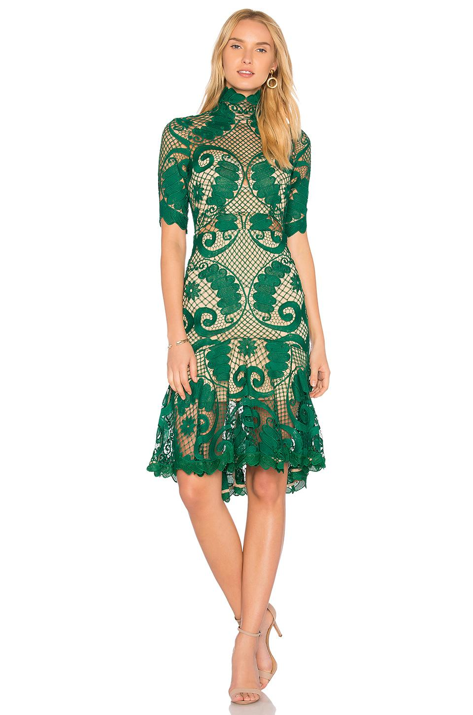Thurley babylon lace dress in green lyst for Emerald green dress wedding guest