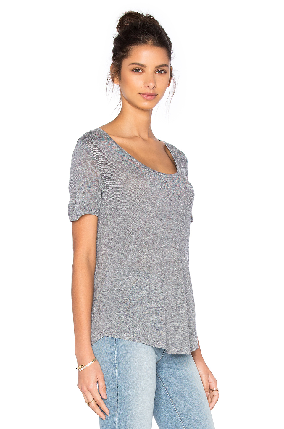 Vince short sleeve scoop neck tee in gray lyst for Vince tee shirts sale