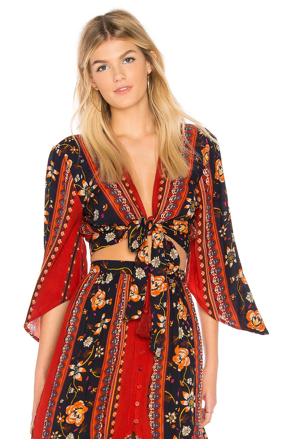3c399f597fc89c Band Of Gypsies Bohemian Tie Front Blouse in Red - Lyst