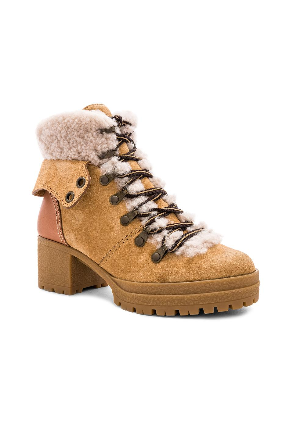 4d456970628 See By Chloé - Natural Eileen Hiker Shearling Bootie - Lyst