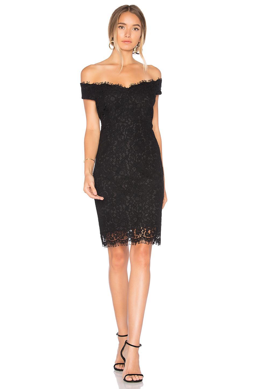 lyst bardot tara lace off shoulder dress in black. Black Bedroom Furniture Sets. Home Design Ideas