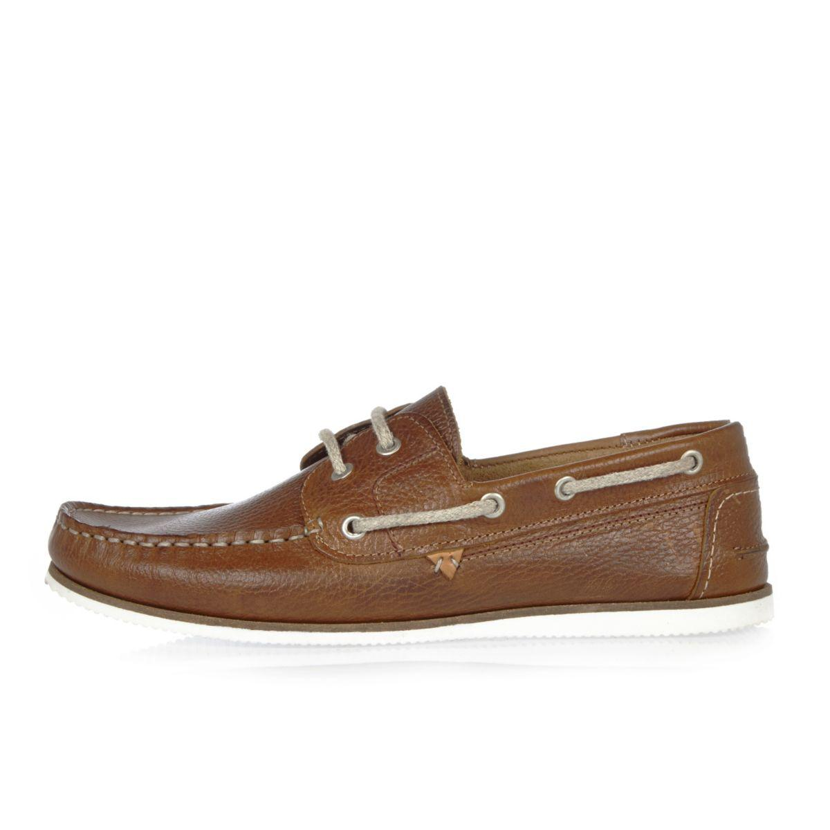 River Island Woven Boat Shoes In Leather