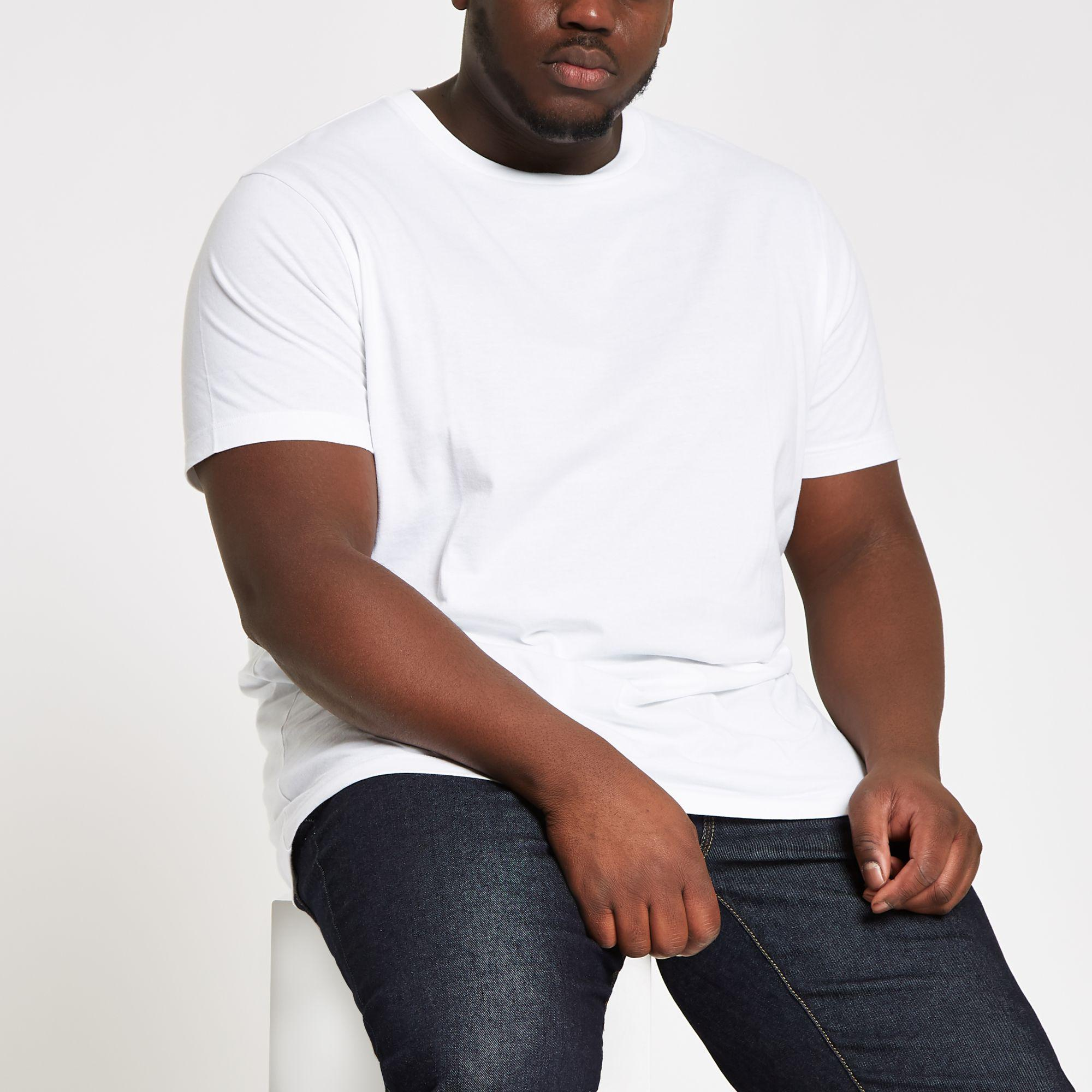 b0bfae82 River Island Big And Tall Slim Fit Crew Neck T-shirt in White for ...
