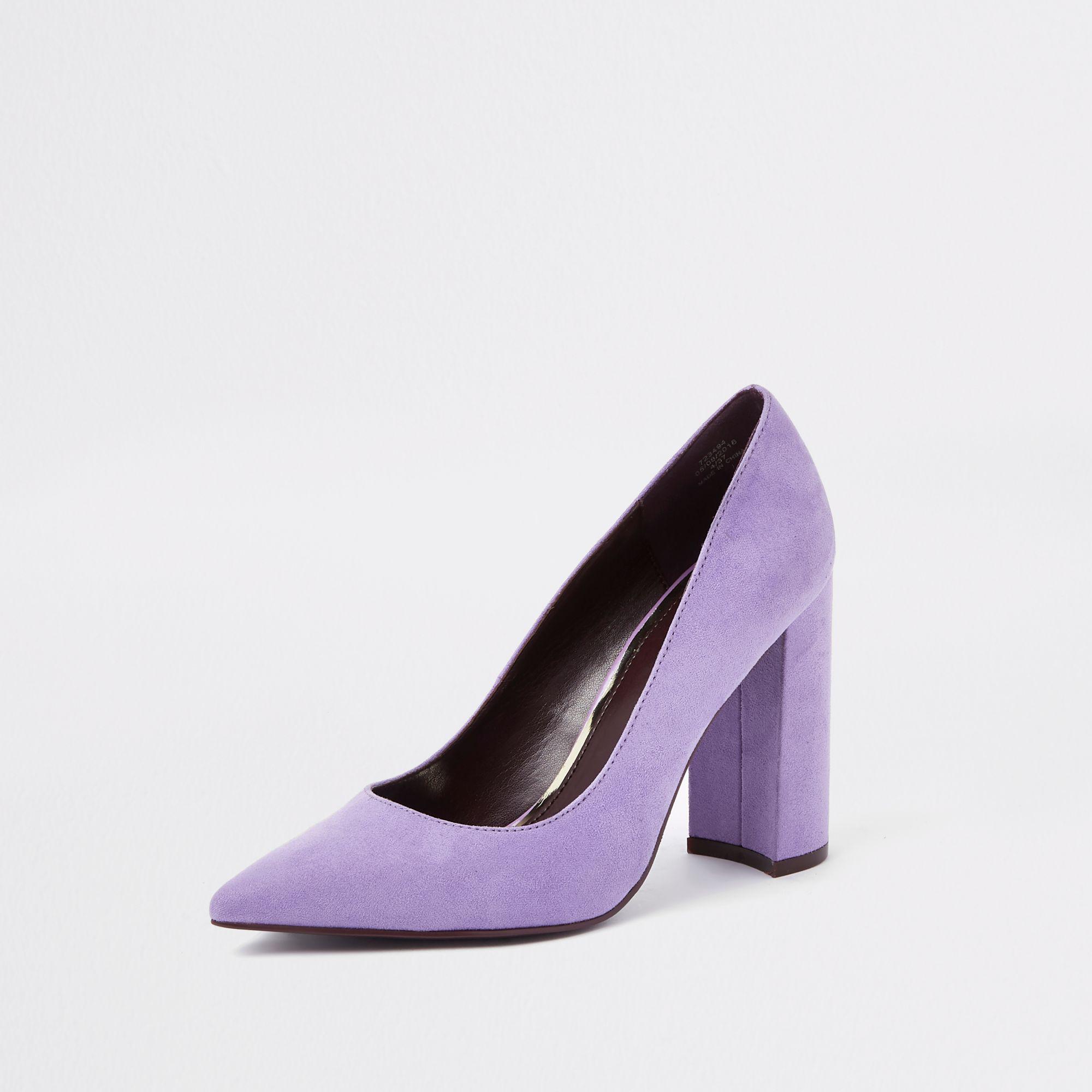 06d9d49fcd2b River Island Light Purple Block Heel Court Shoes in Purple - Lyst
