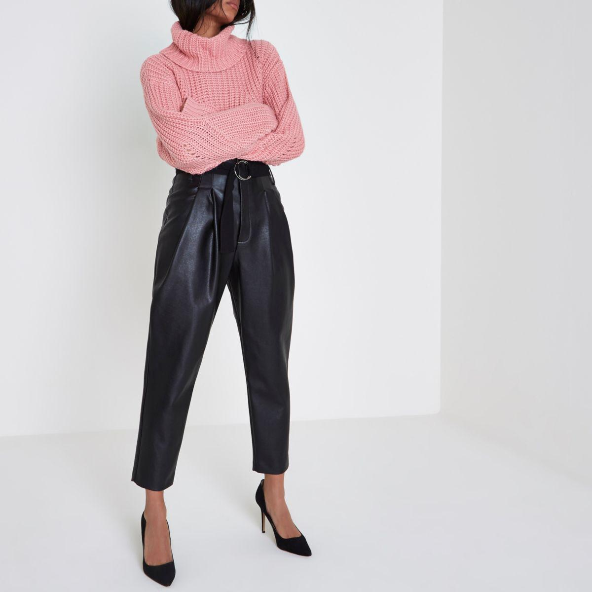 ca7d55dfcf198 River Island Black Faux Leather Tapered Trousers Black Faux Leather ...