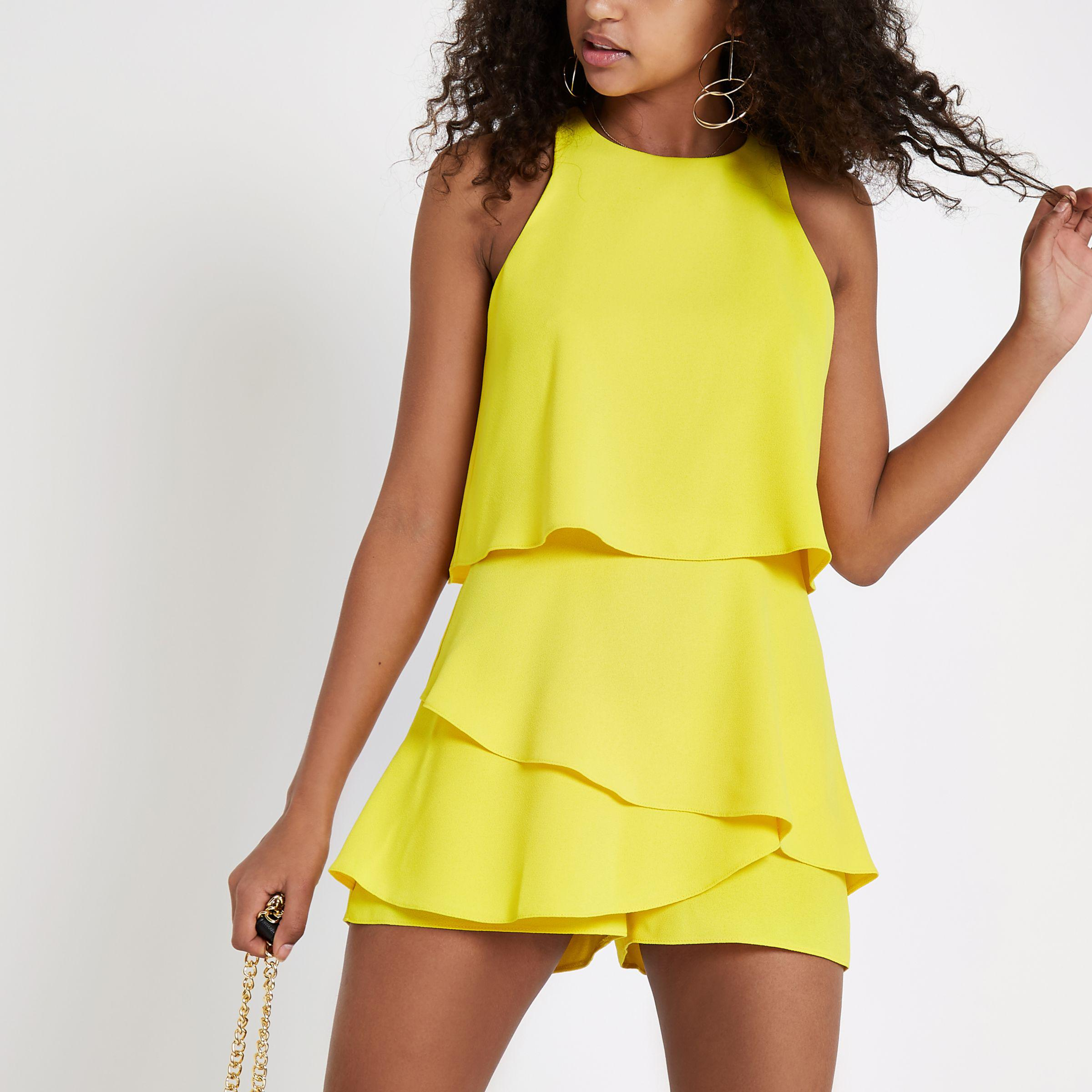 1a3b08375b3f River Island Yellow Tiered Frill Playsuit in Yellow - Lyst