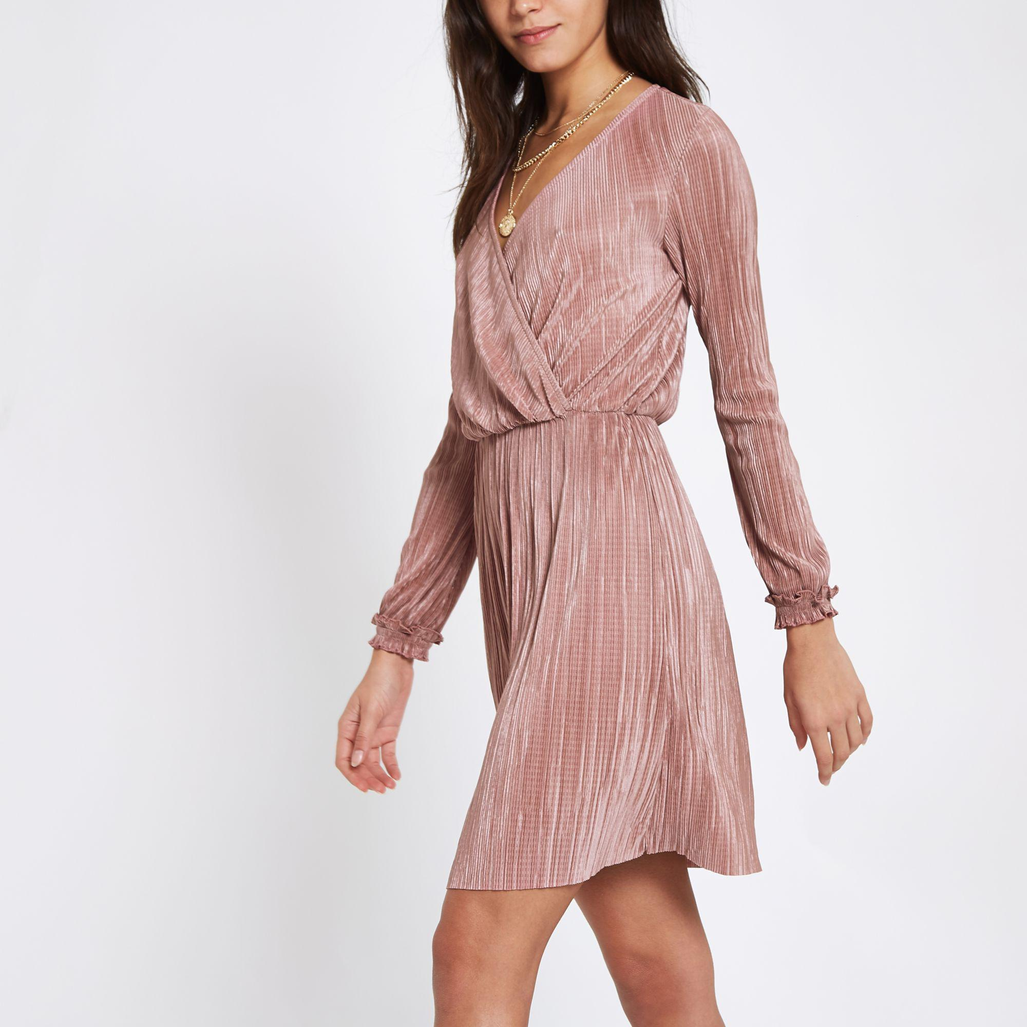 d2412337a6 River Island Light Pink Plisse Wrap Front Mini Dress in Pink - Lyst