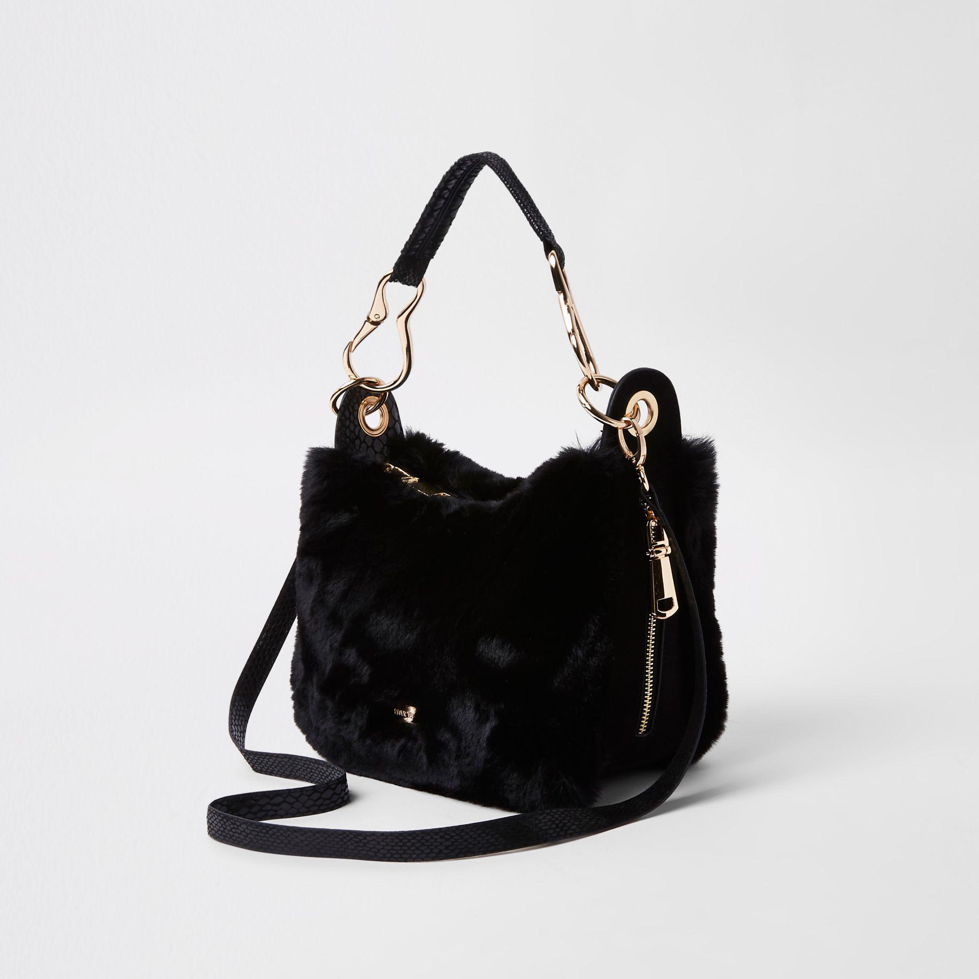 39ed40b52f Lyst - River Island Black Zip Faux Fur Scoop Cross Body Bag in Black