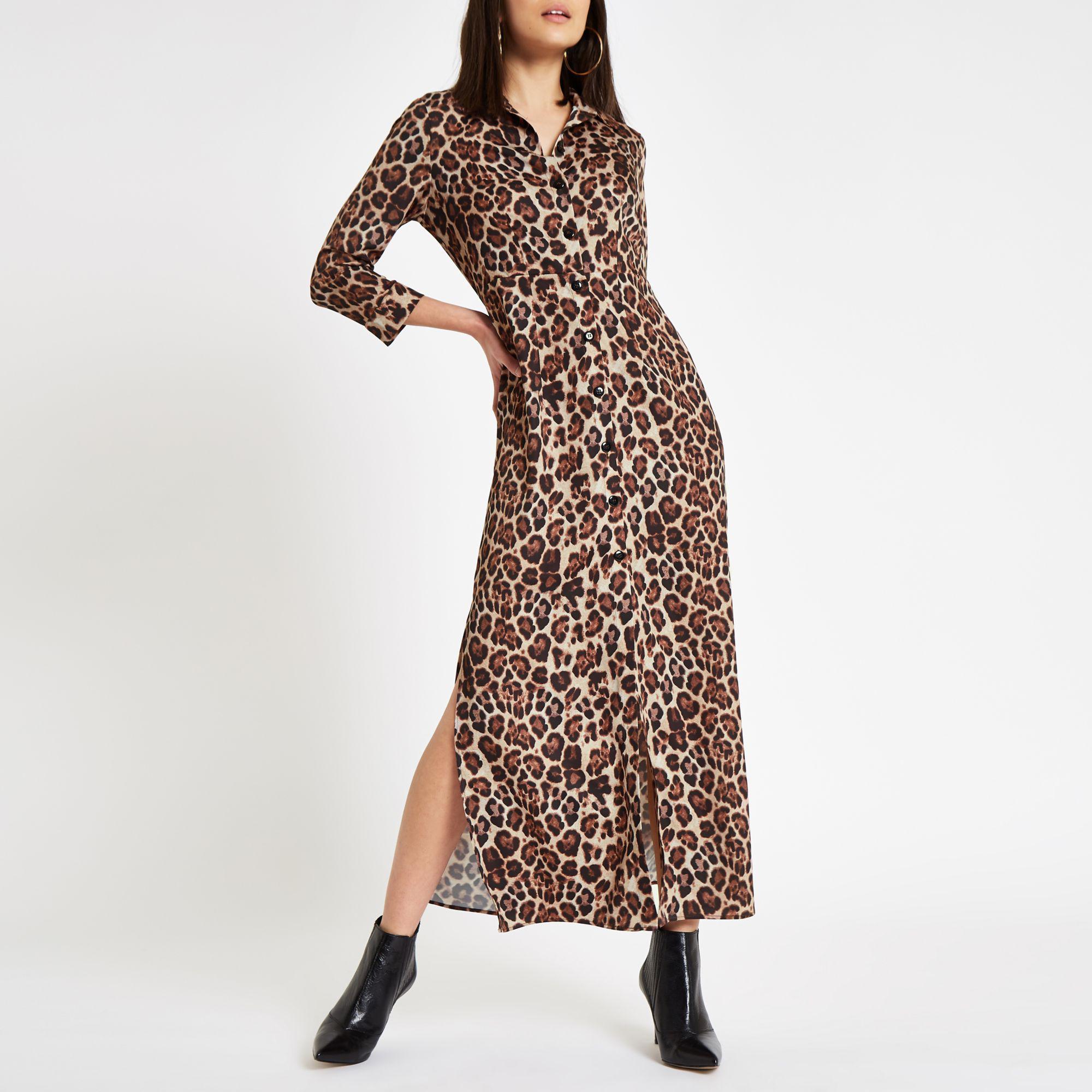 f397802eec Lyst - River Island Brown Leopard Print Maxi Shirt Dress in Brown