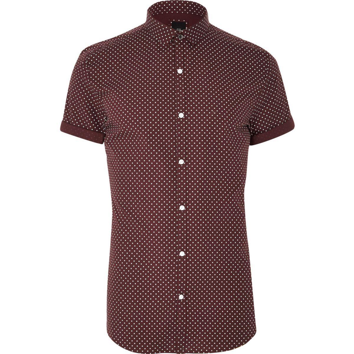 Lyst river island big and tall burgundy polka dot shirt for Big and tall purple dress shirts