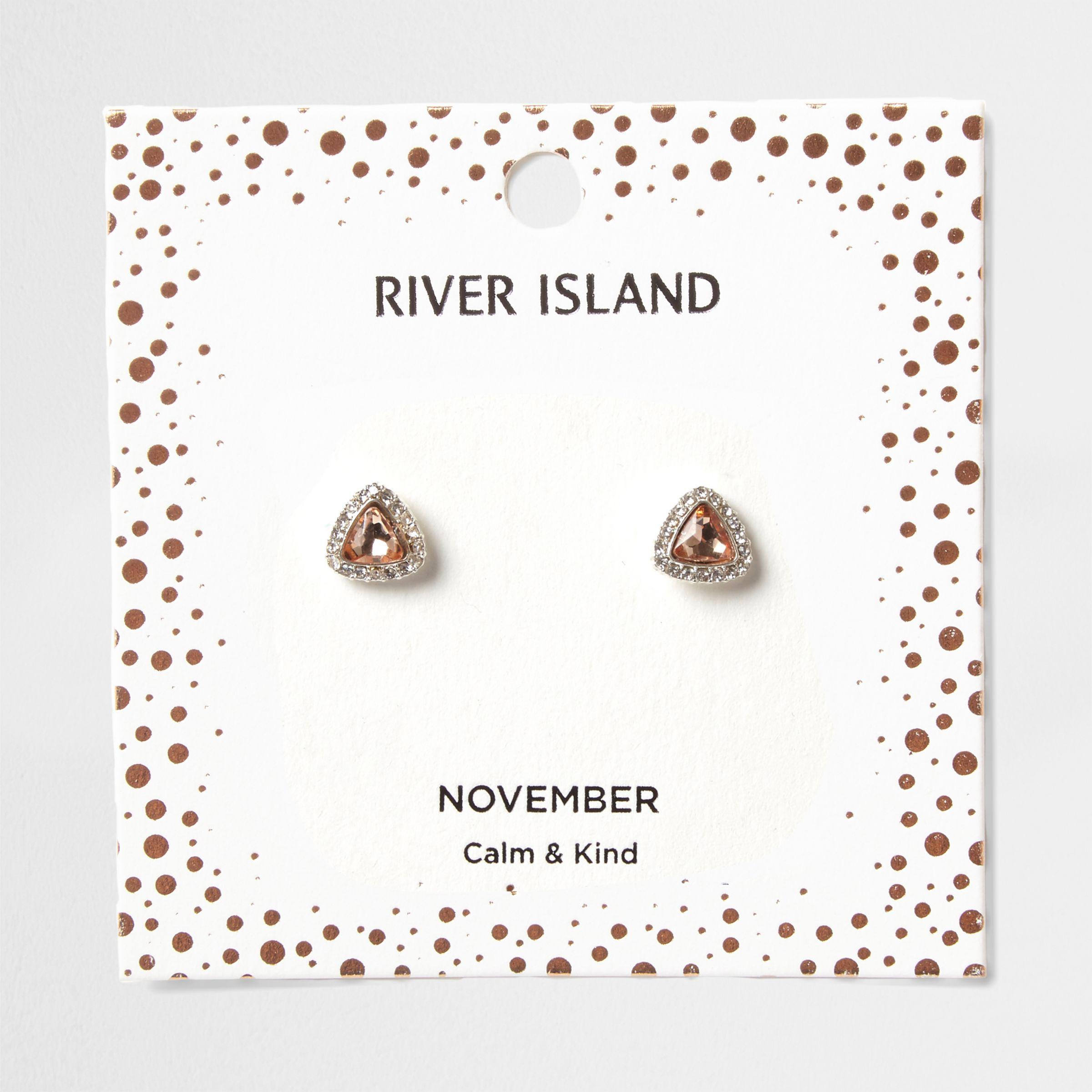 be1faaed427a4 River Island Orange Gem November Birthstone Stud Earrings in Orange ...