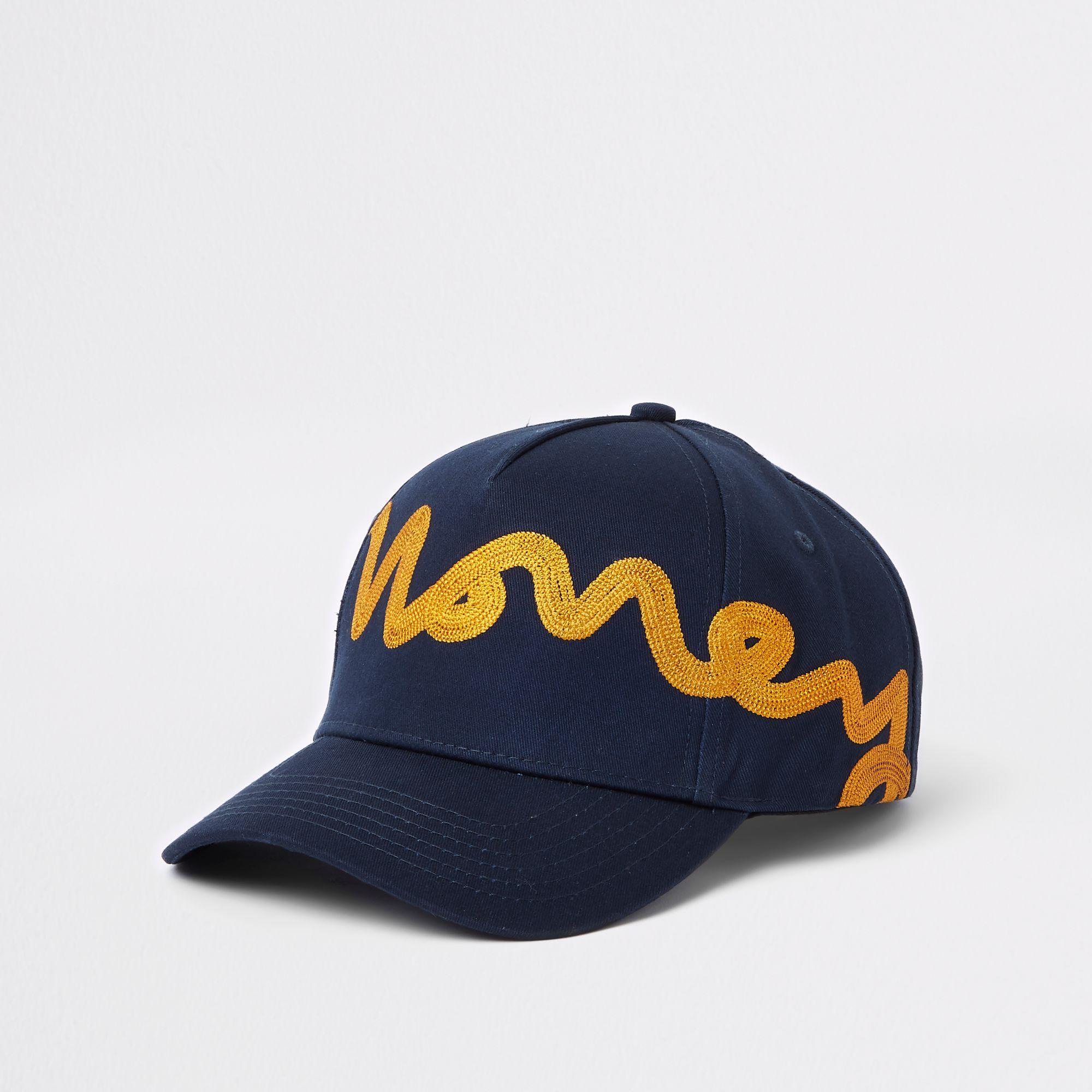 44c5214a River Island Money Clothing Navy Baseball Cap in Blue for Men - Lyst