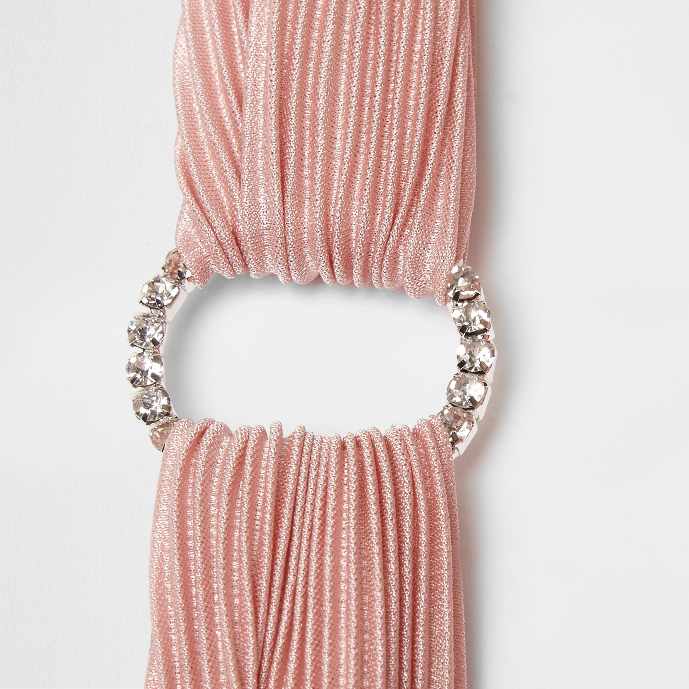 2ba3ab3ebba1 River Island Pink Pleated Rhinestone Pave Circle Headband in Pink - Lyst
