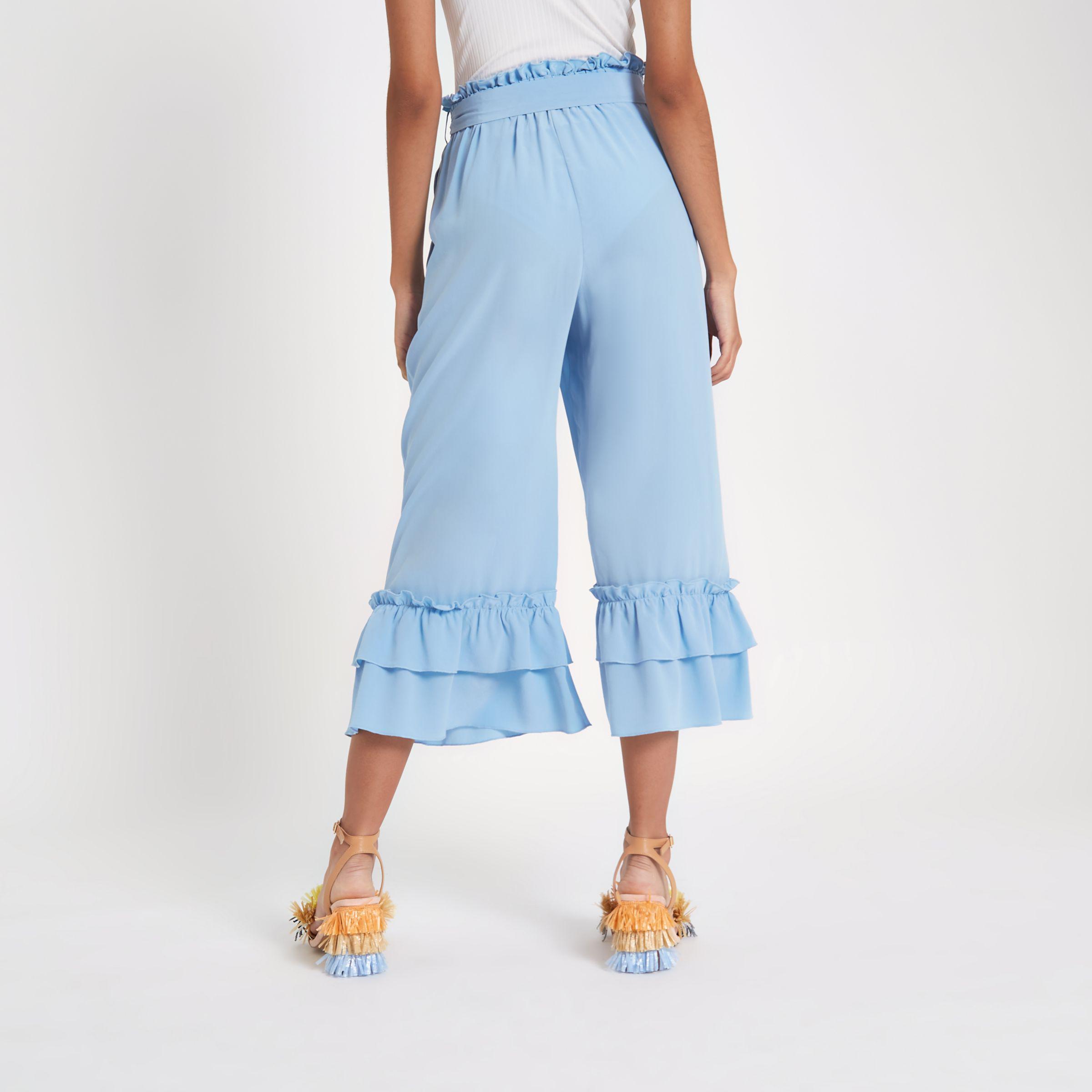 Womens Blue silk tiered frill tie waist culottes River Island qnBbEfQ1F