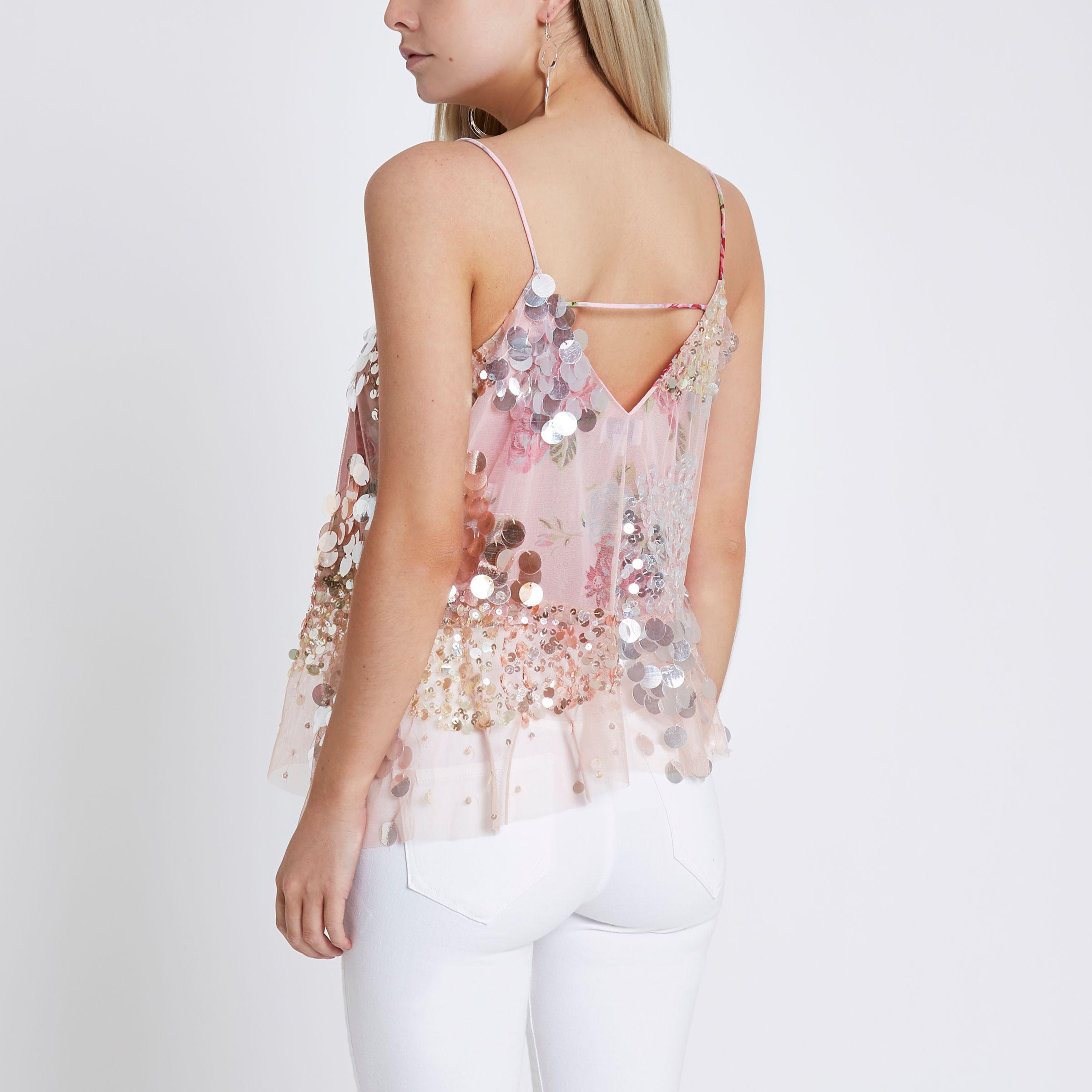46b18d9c06613d River Island Petite Pink Sequin Embellished Cami Top in Pink - Lyst