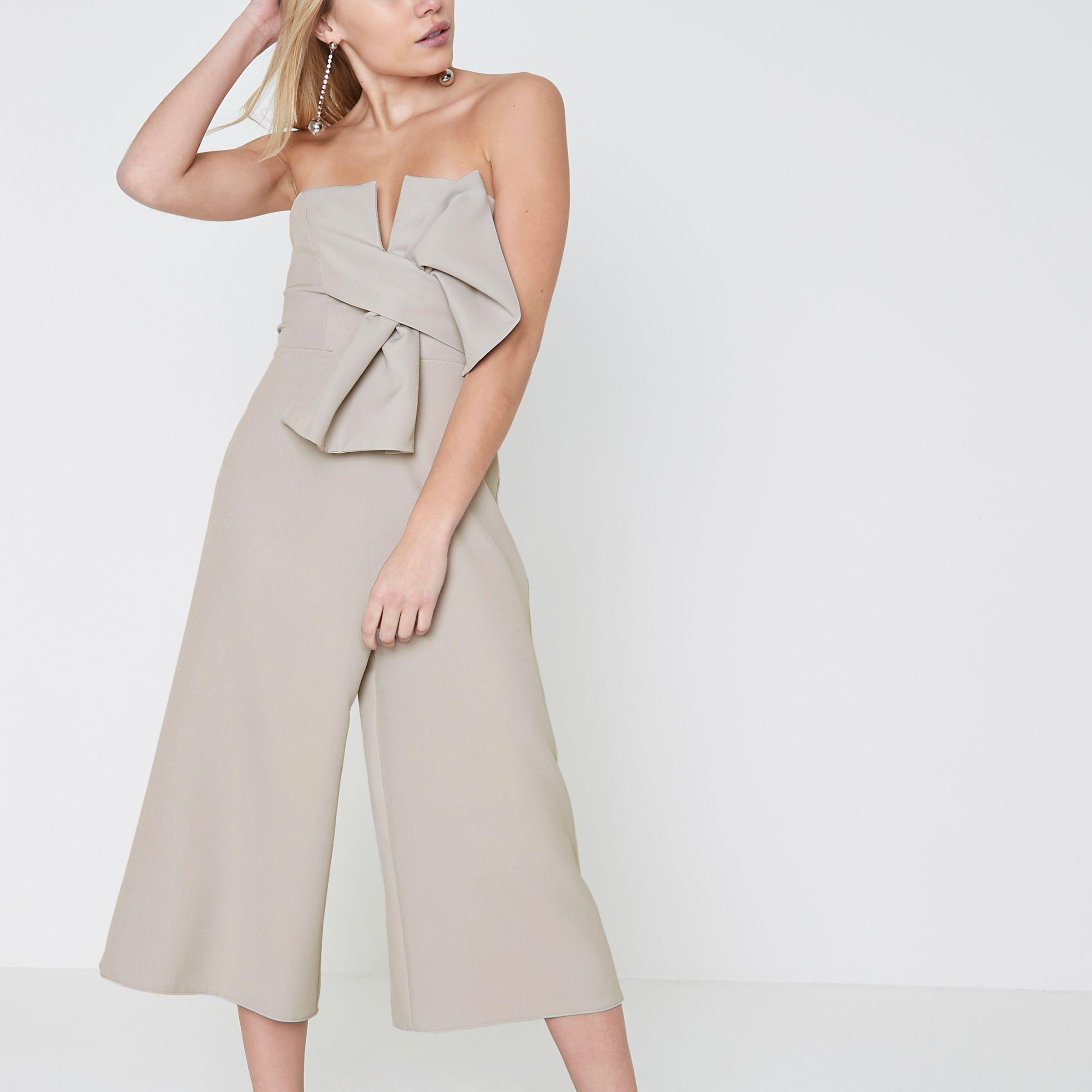 online store modern style great discount for River Island Synthetic Petite Grey Bow Bandeau Culotte ...