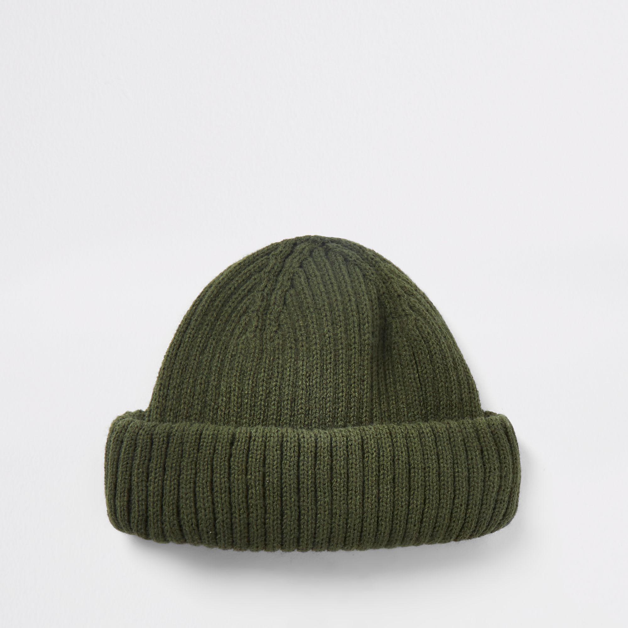 9c762cceae0 River Island Khaki Green Mini Fisherman Beanie Hat in Green for Men ...