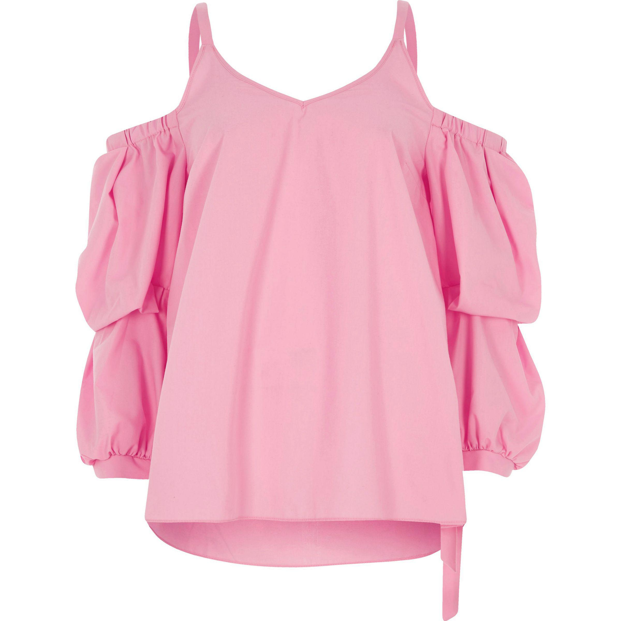 9aeac16d20a River Island Pink Puff Sleeve Cold Shoulder Top in Pink - Lyst