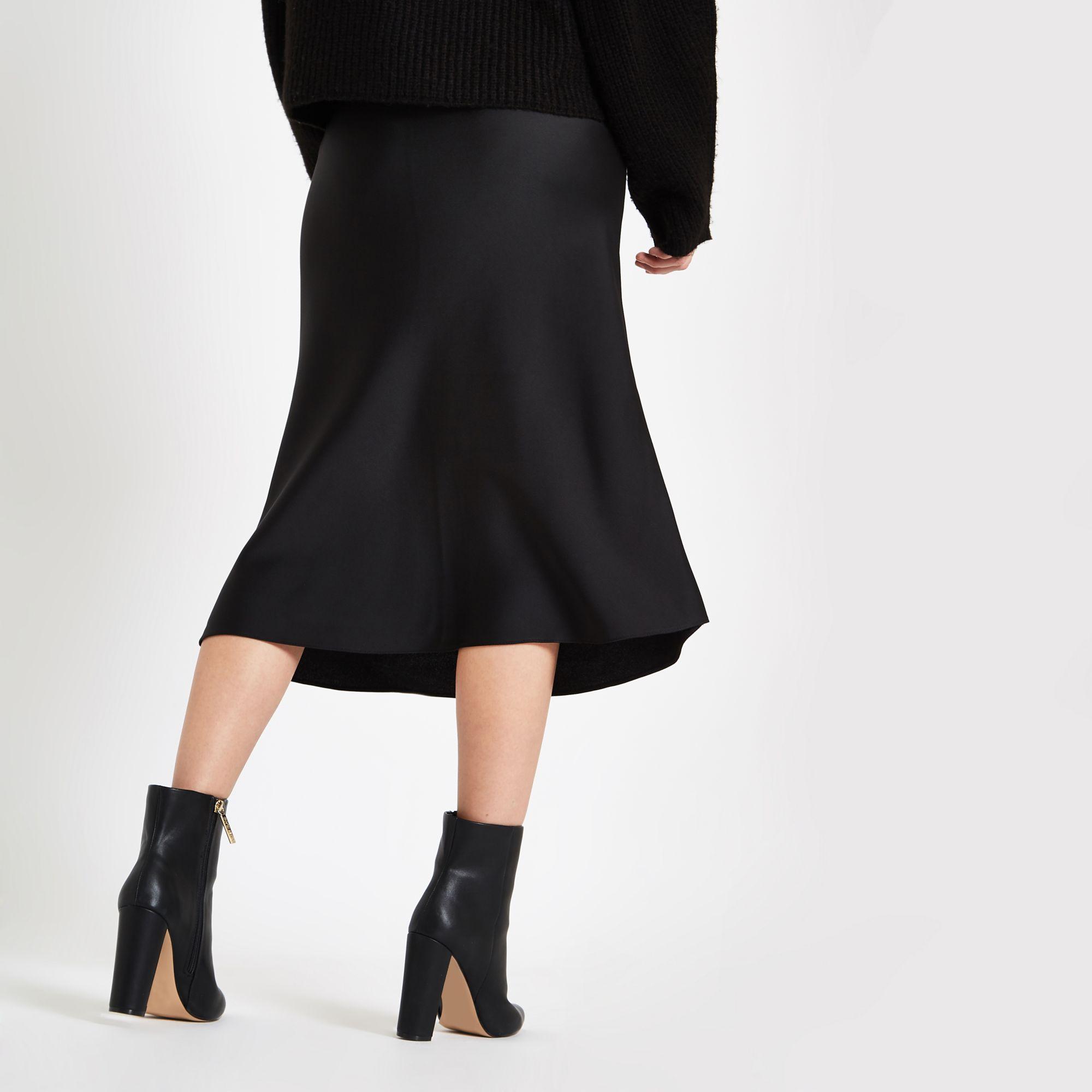 superior quality 2018 shoes finest fabrics Lyst - River Island Bias Cut Midi Skirt in Black