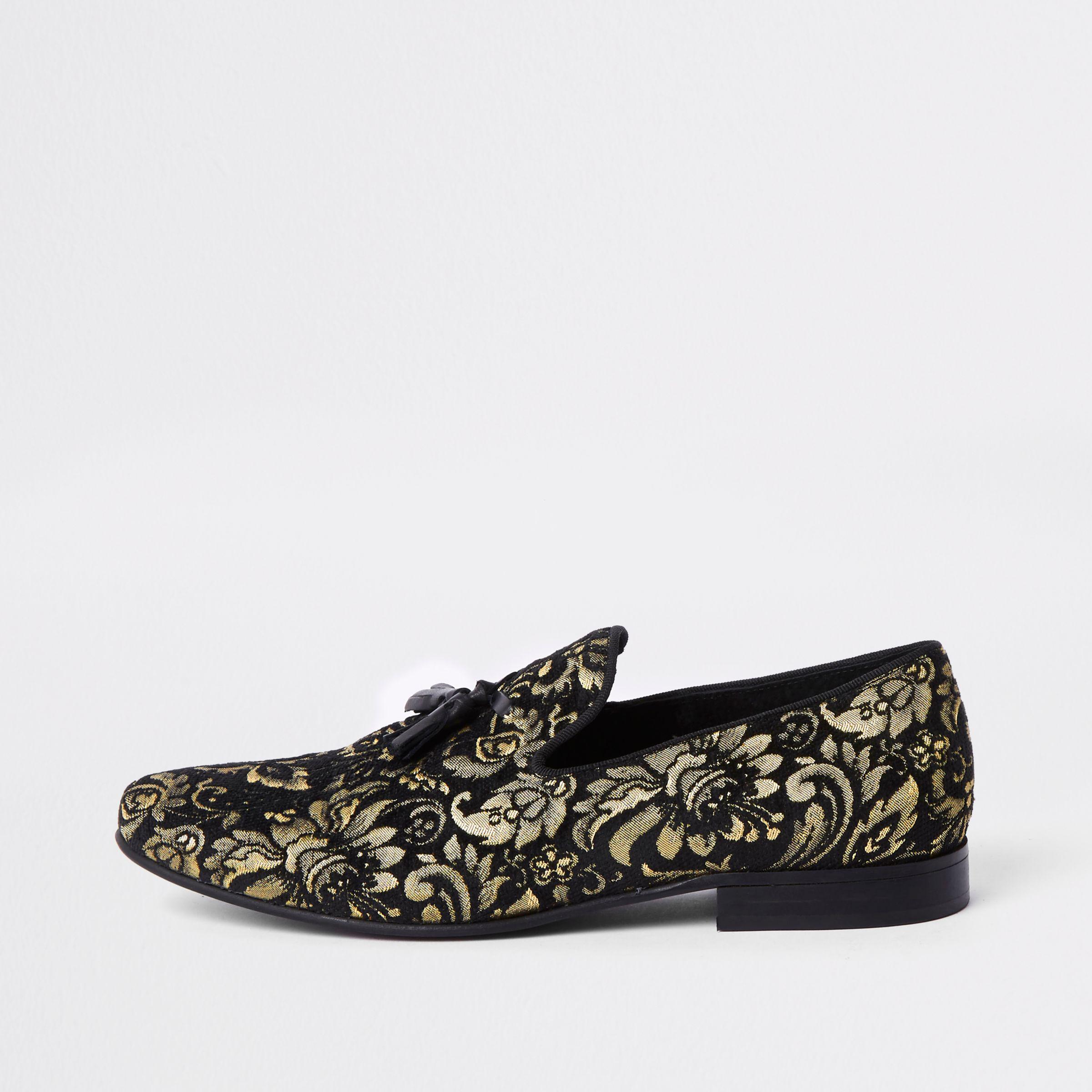 6dafc5dca64 River Island Black Gold Tone Embroidered Loafer in Black for Men - Lyst