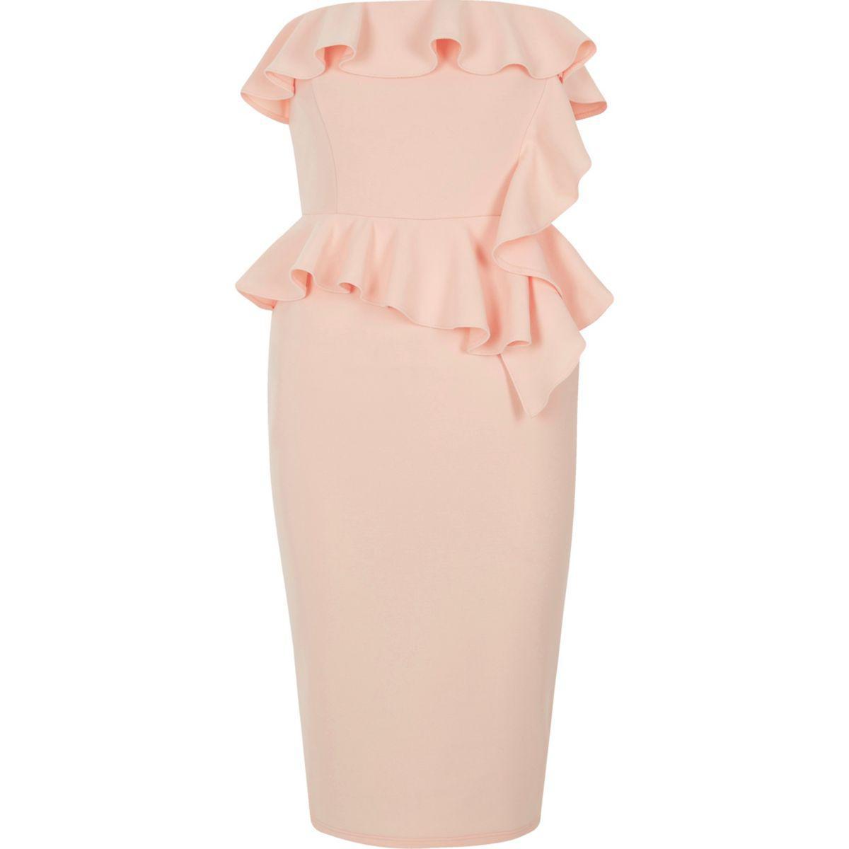 151ec7ca72b9 Lyst - River Island Light Pink Frill Strapless Bodycon Dress in Pink