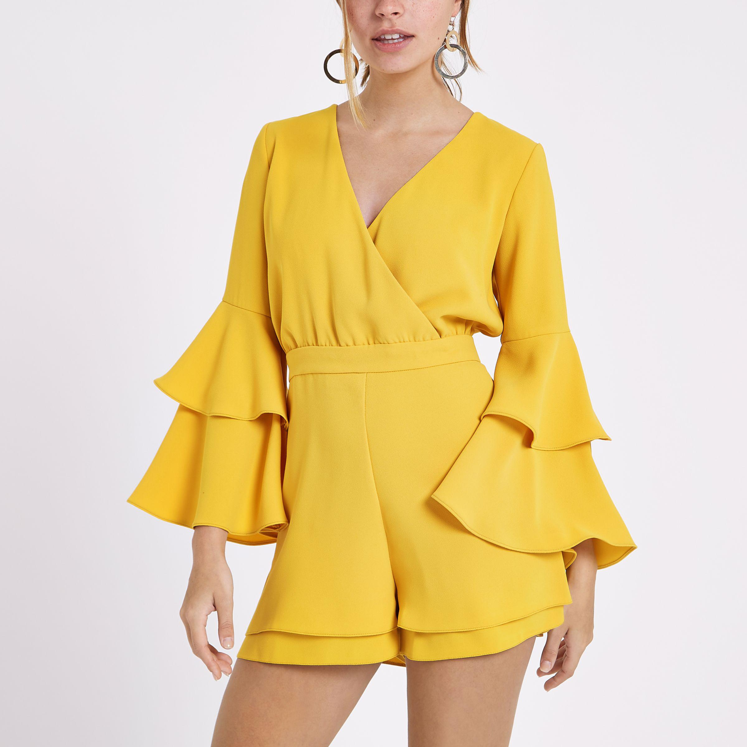 4d175e1f7bb River Island Petite Mustard Yellow Frill Sleeve Playsuit in Yellow ...