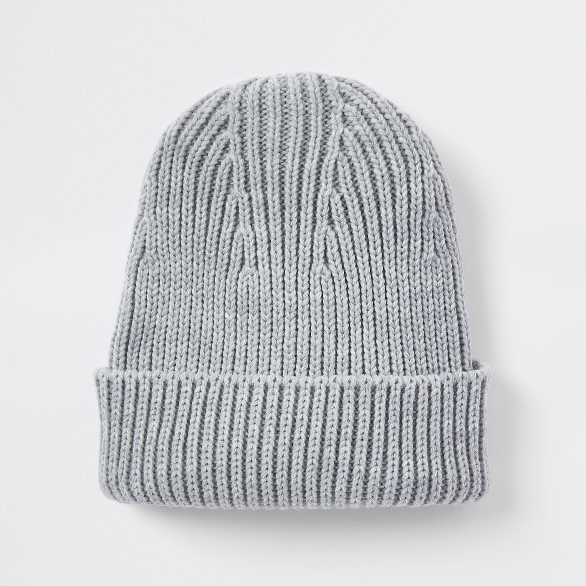 a5faf197554 River Island Fisherman Knit Beanie Hat in Gray for Men - Lyst