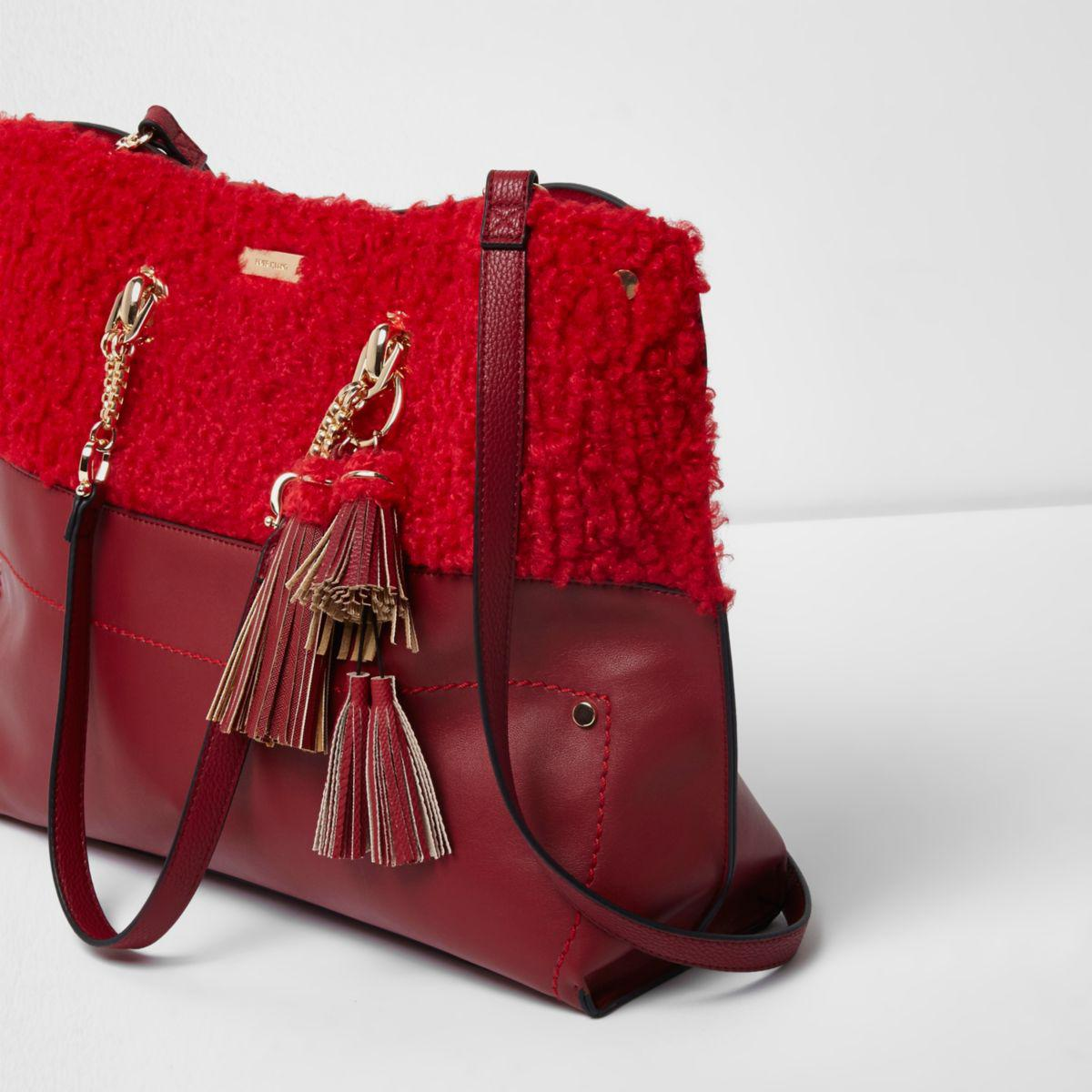 1a3b0d1a06c3 River Island Red Borg Oversized Chain Shopper Bag Red Borg Oversized ...