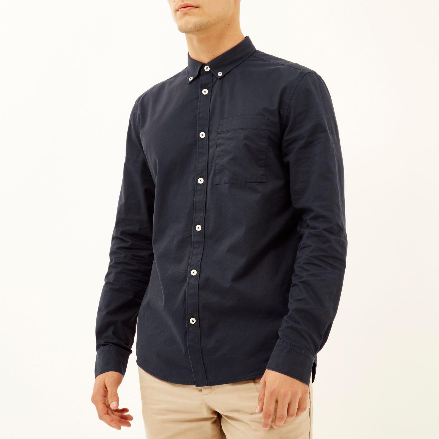 River island navy twill button down shirt in blue for men for Bear river workwear shirts
