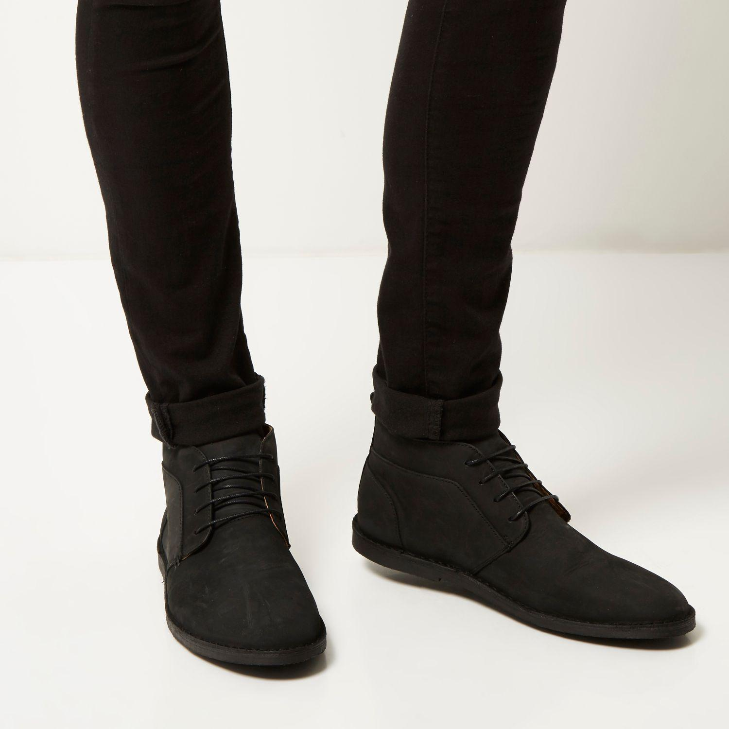 river island black nubuck leather chukka boots in black
