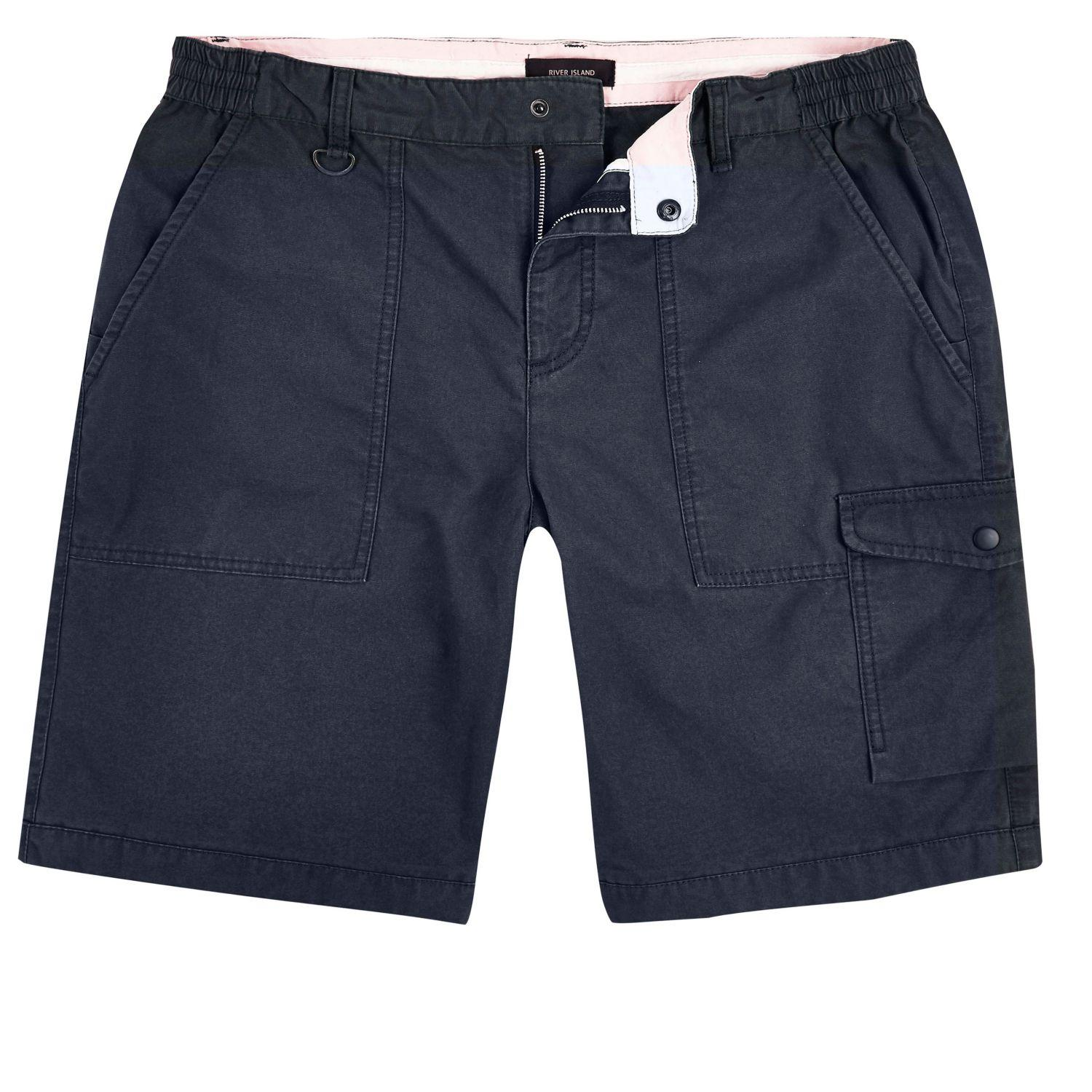 92f1d91773 River Island Navy Slim Fit Cargo Shorts in Blue for Men - Lyst
