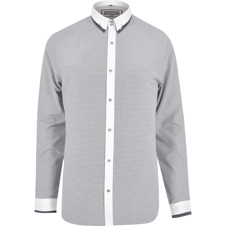 River Island Navy Contrast Slim Fit Shirt In Blue For Men