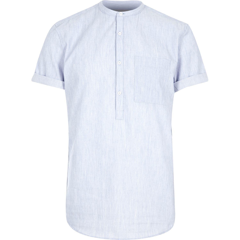 River island blue grandad collar shirt in blue for men lyst Mens grandad collar shirt